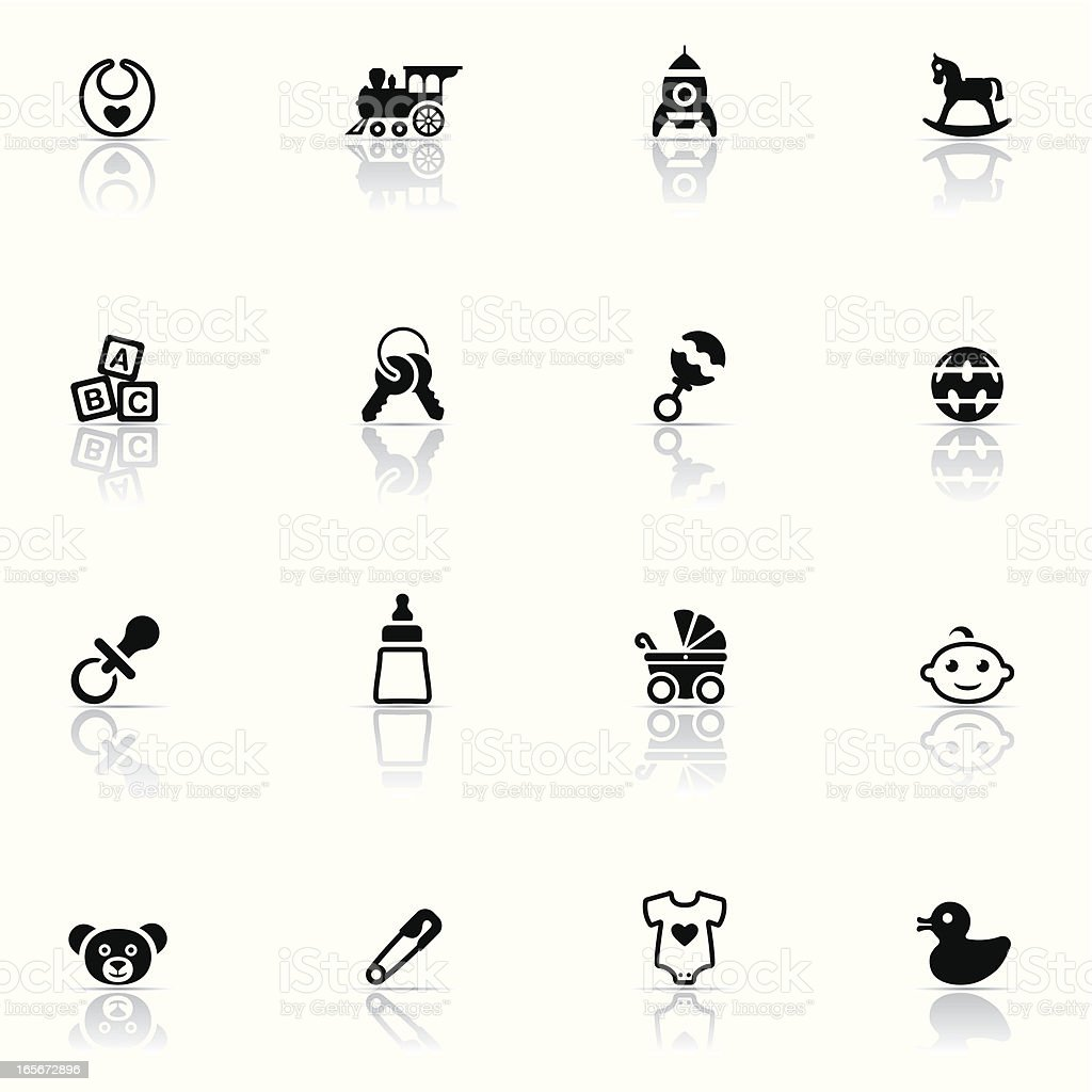 Series of baby related icons in black on white background vector art illustration