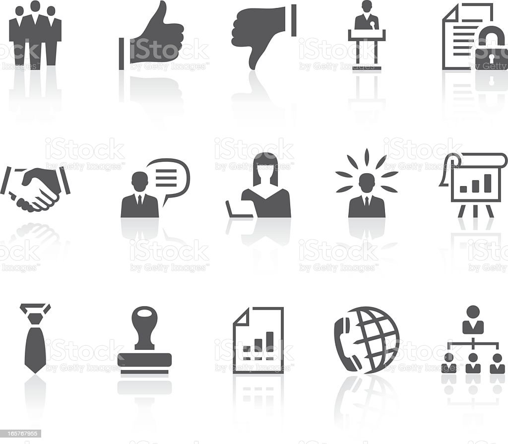 A series of black and white business icons  royalty-free stock vector art