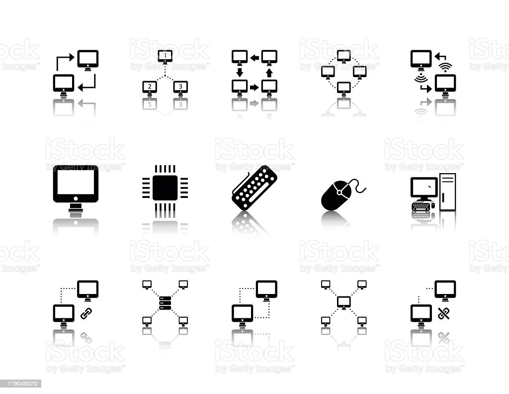 Series of black on white computer networking icons royalty-free stock vector art