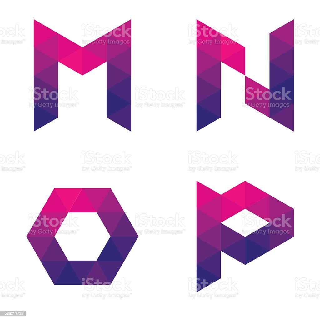 Series of geometric letters m, n, o, p vector art illustration