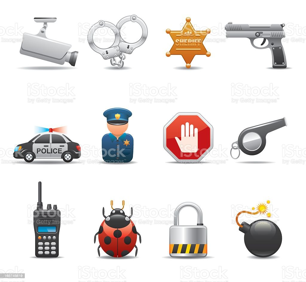Series of icons featuring security elements on white vector art illustration