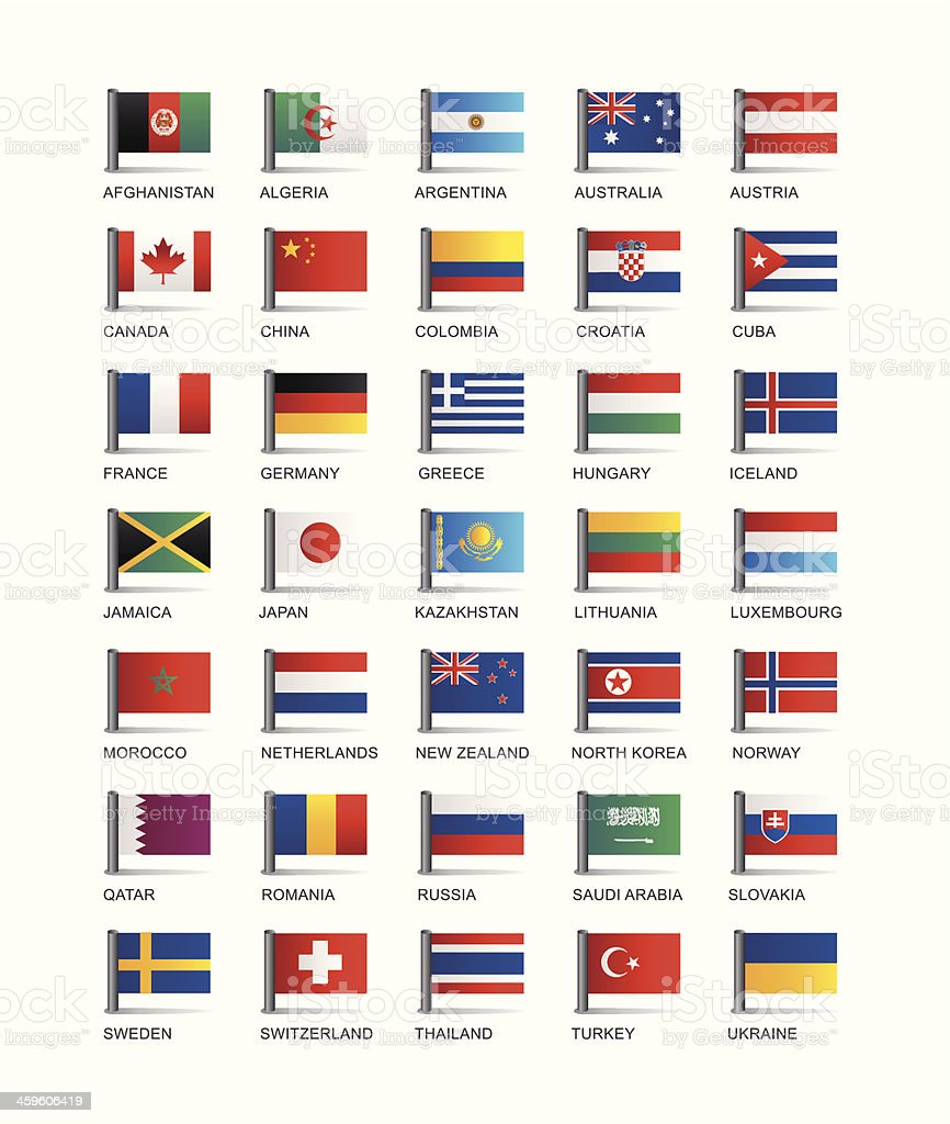 Series of illustrated country flags vector art illustration