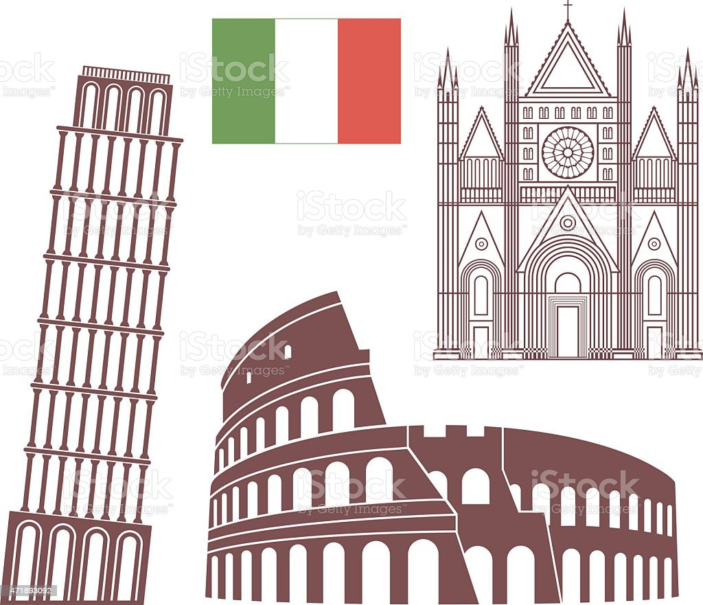 Series of Italy monuments drawn on white background vector art illustration