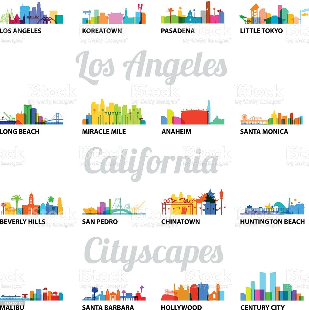 Series of Los Angeles related cityscapes vector art illustration