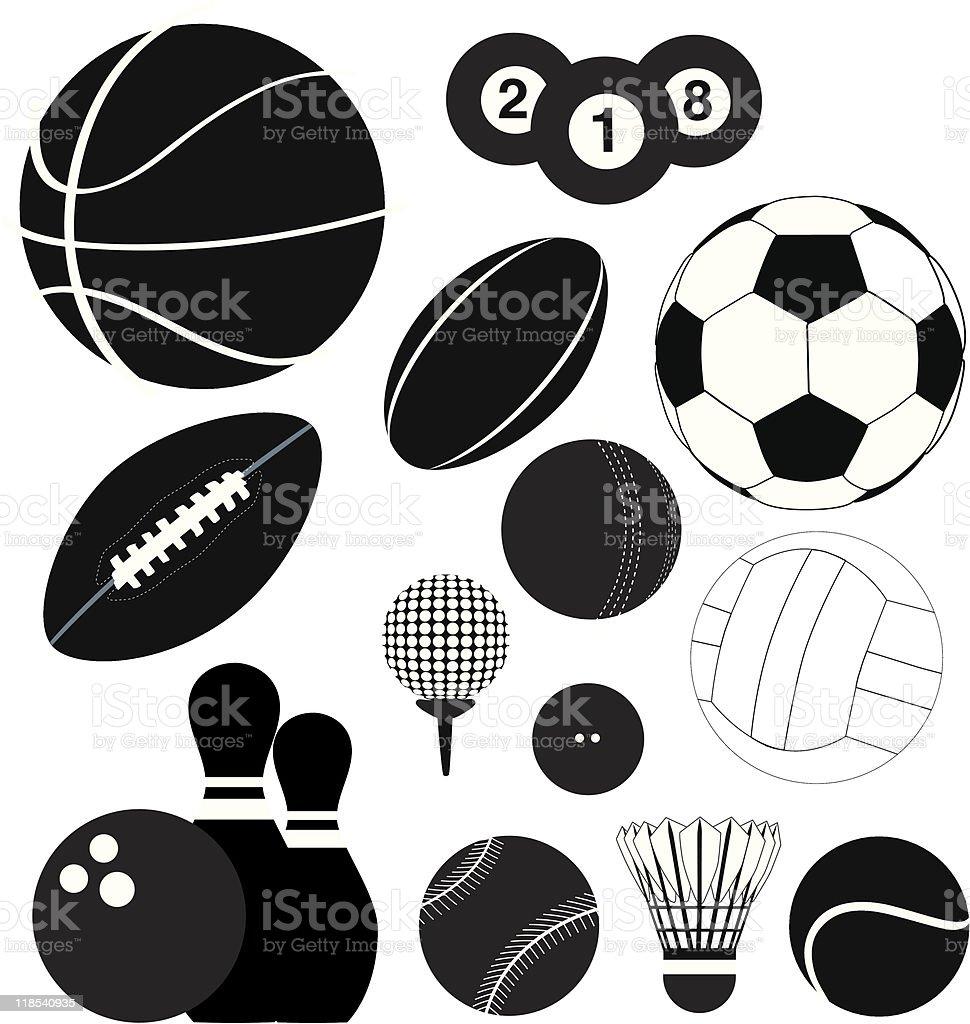 Reihe von Sport ball Silhouetten Lizenzfreies vektor illustration