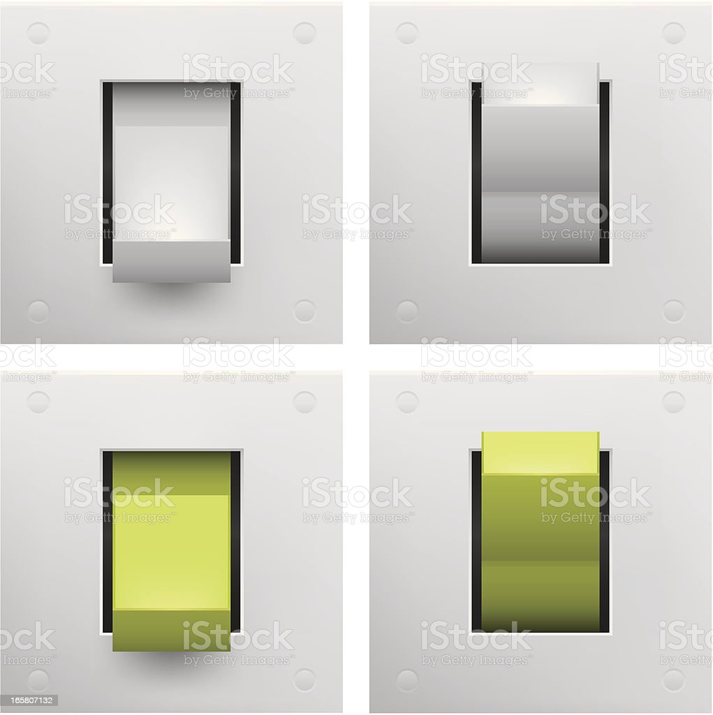 A series of square on and off switches royalty-free stock vector art