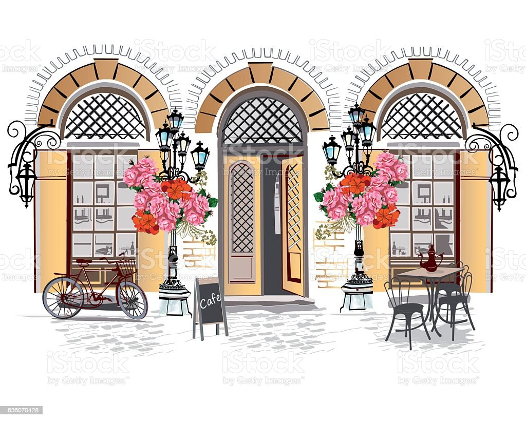 Series of street cafes with flowers. vector art illustration