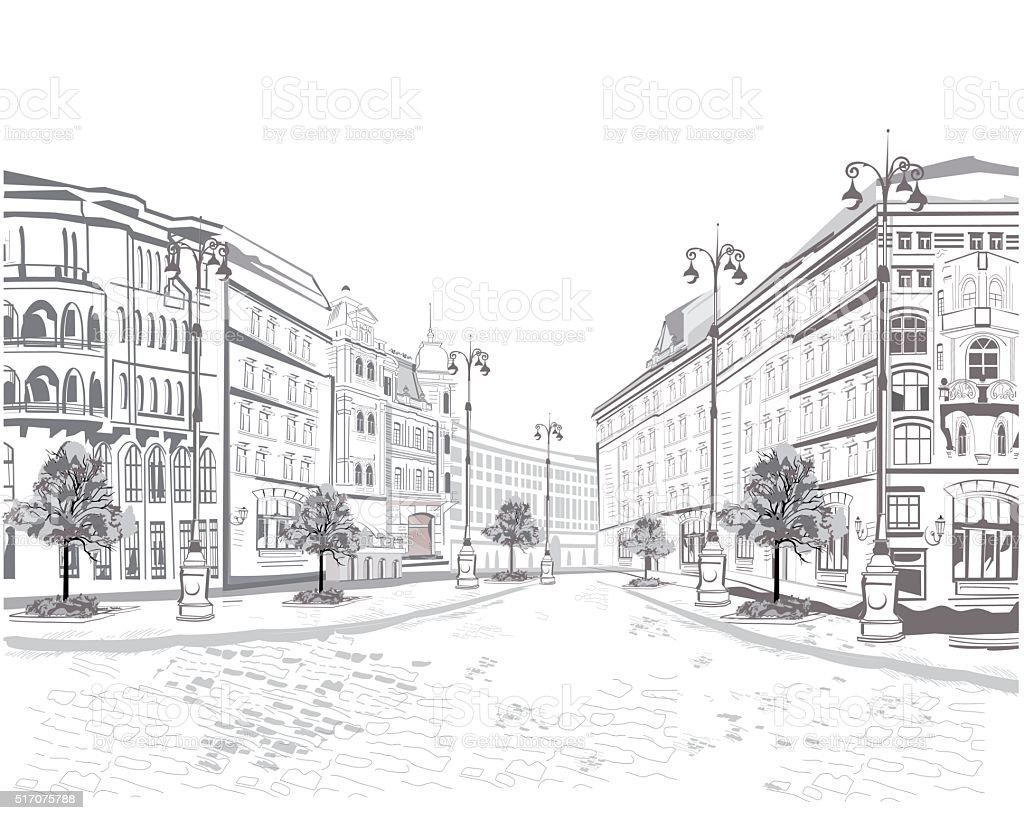 Series of street views in the old city. vector art illustration