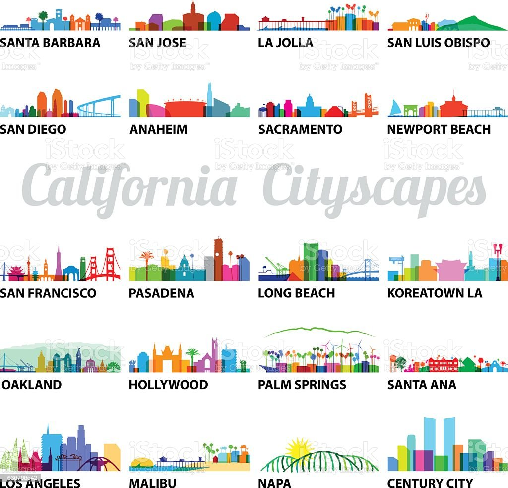 Series of Stylized California Cityscapes vector art illustration