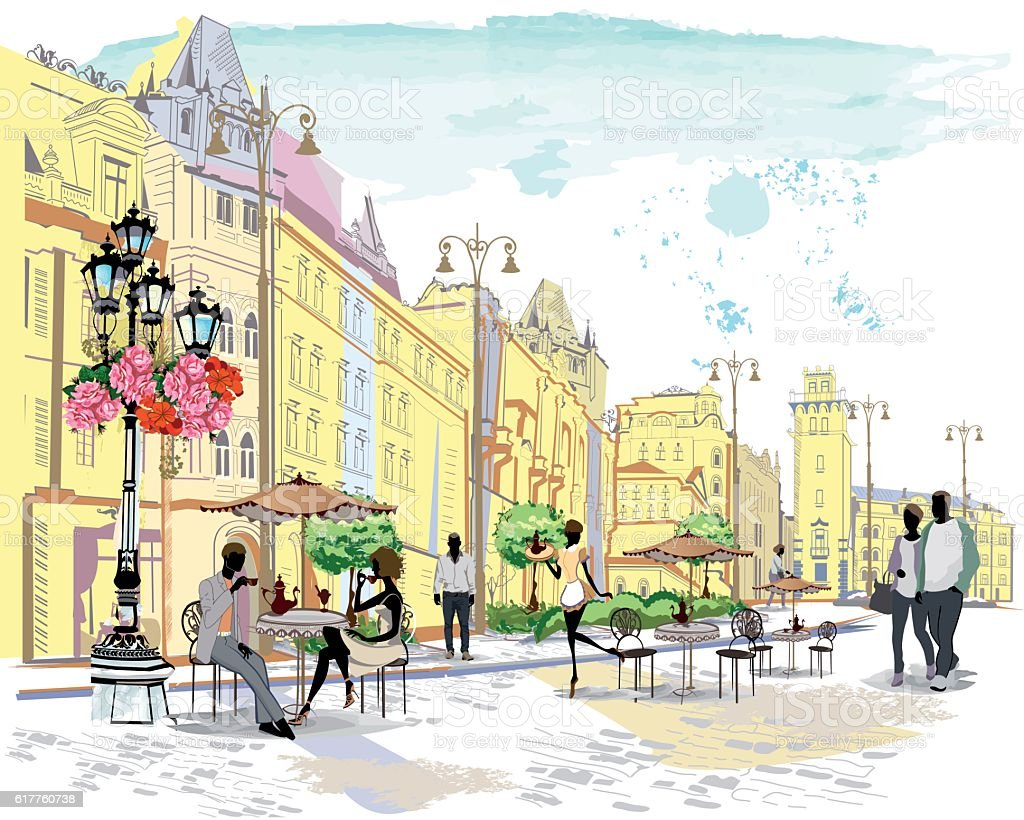 Series of the street cafes with people. vector art illustration