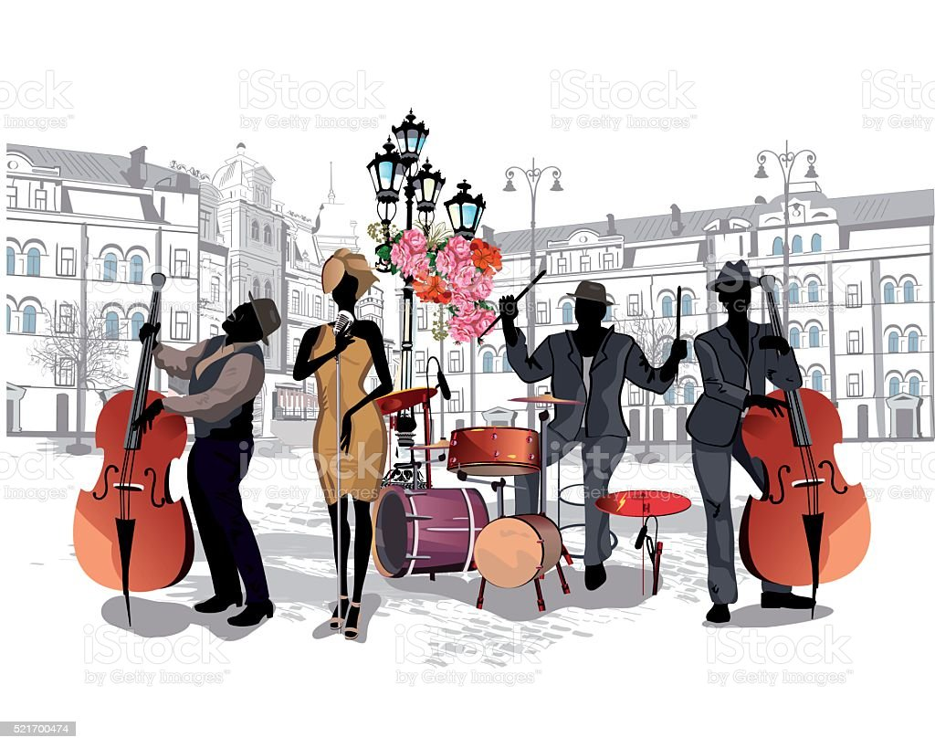 Series of the streets with musicians in the old city. vector art illustration