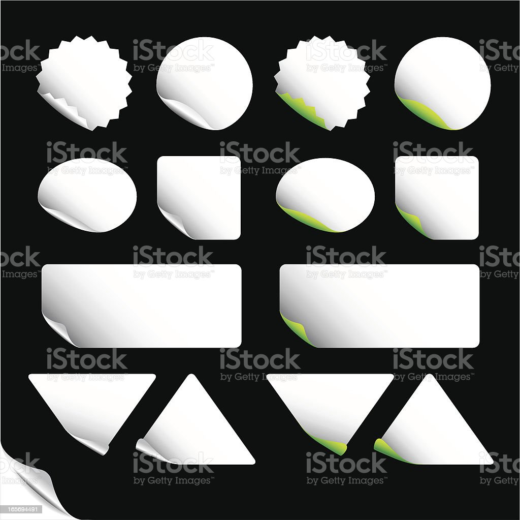 A series of various white labels vector art illustration