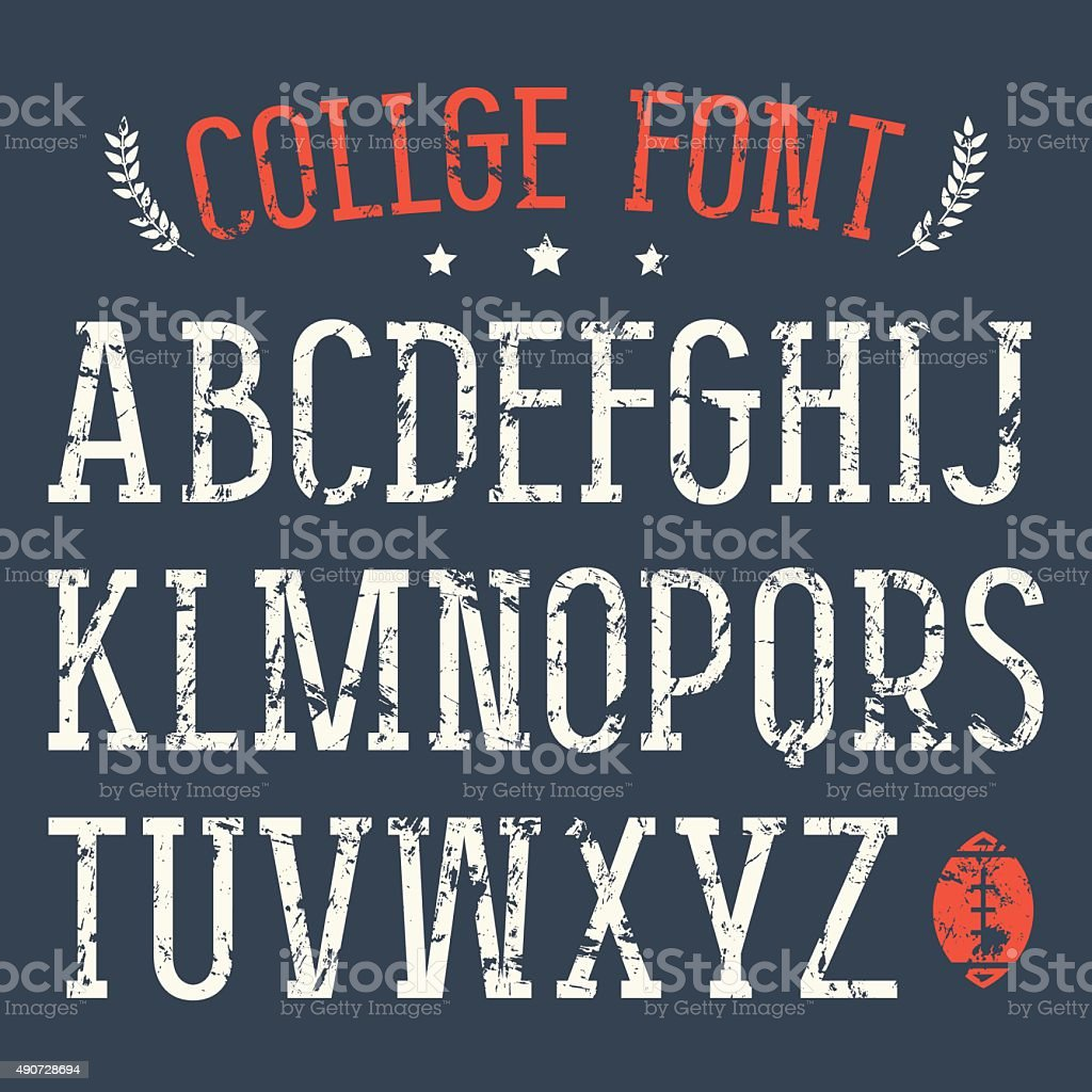 Serif font in college style vector art illustration