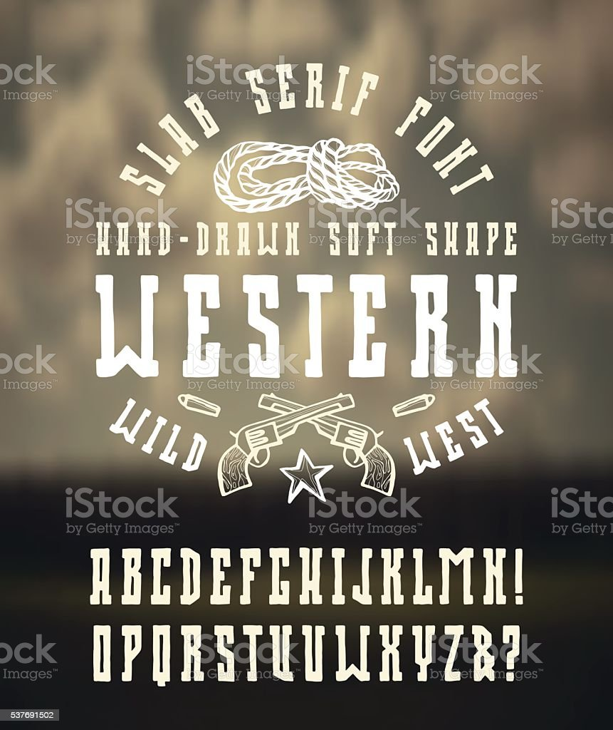 Serif font in the western style with hand-drawn soft shape vector art illustration