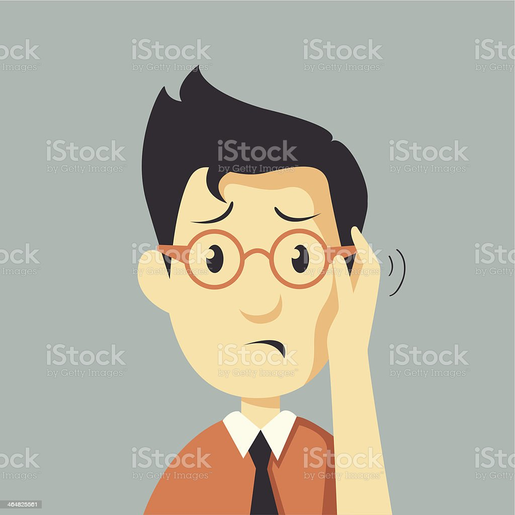 serious man vector art illustration