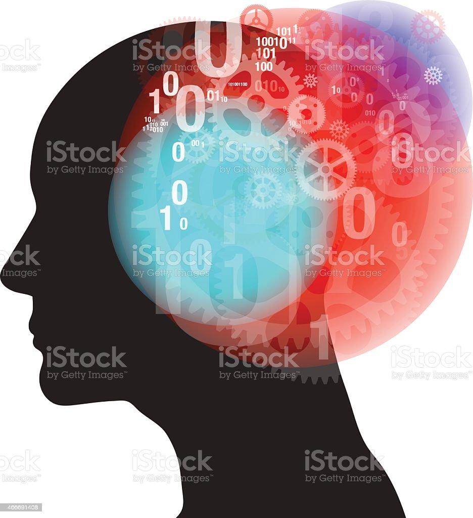 Serious Thinking Silhouette vector art illustration