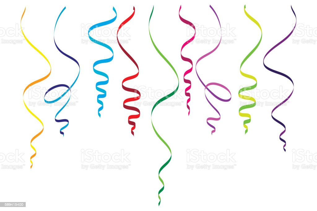 Serpentine streamers objects vector art illustration