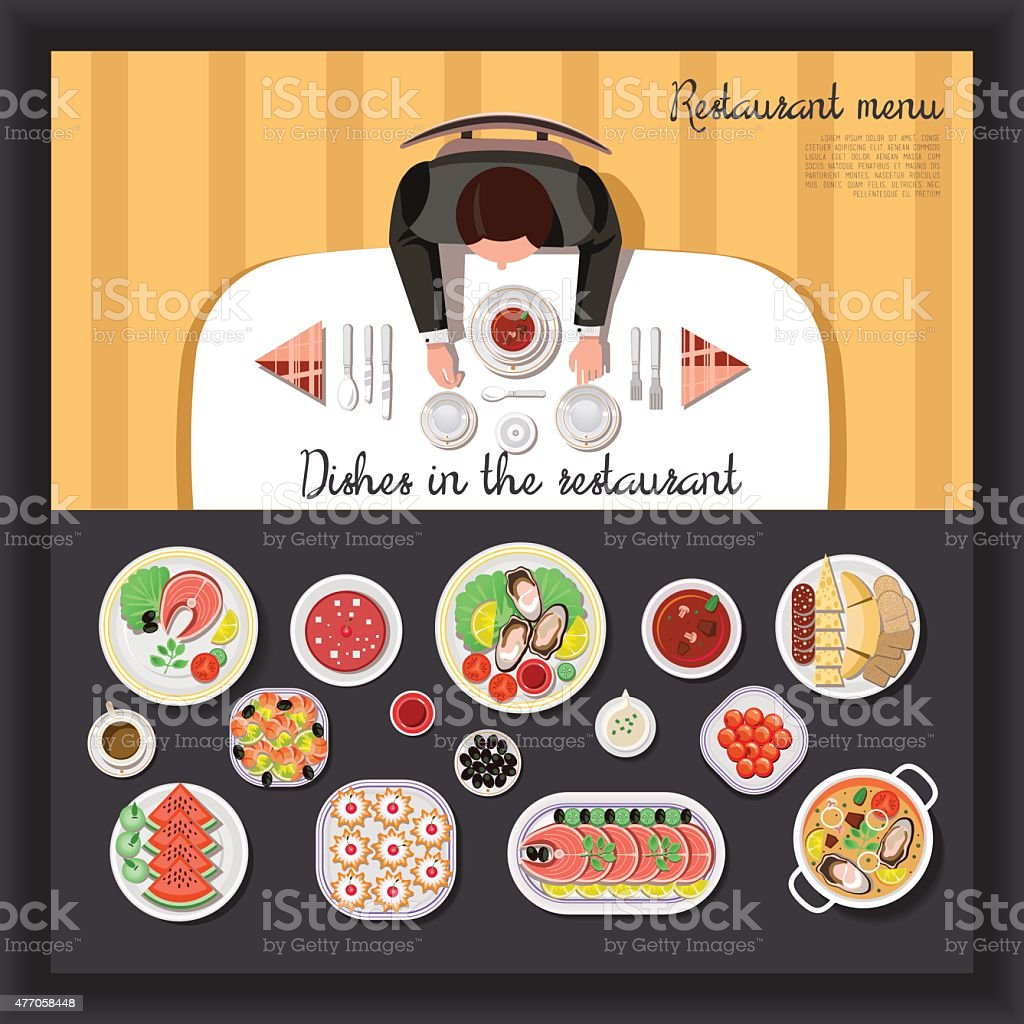 Served table with dishes vector art illustration