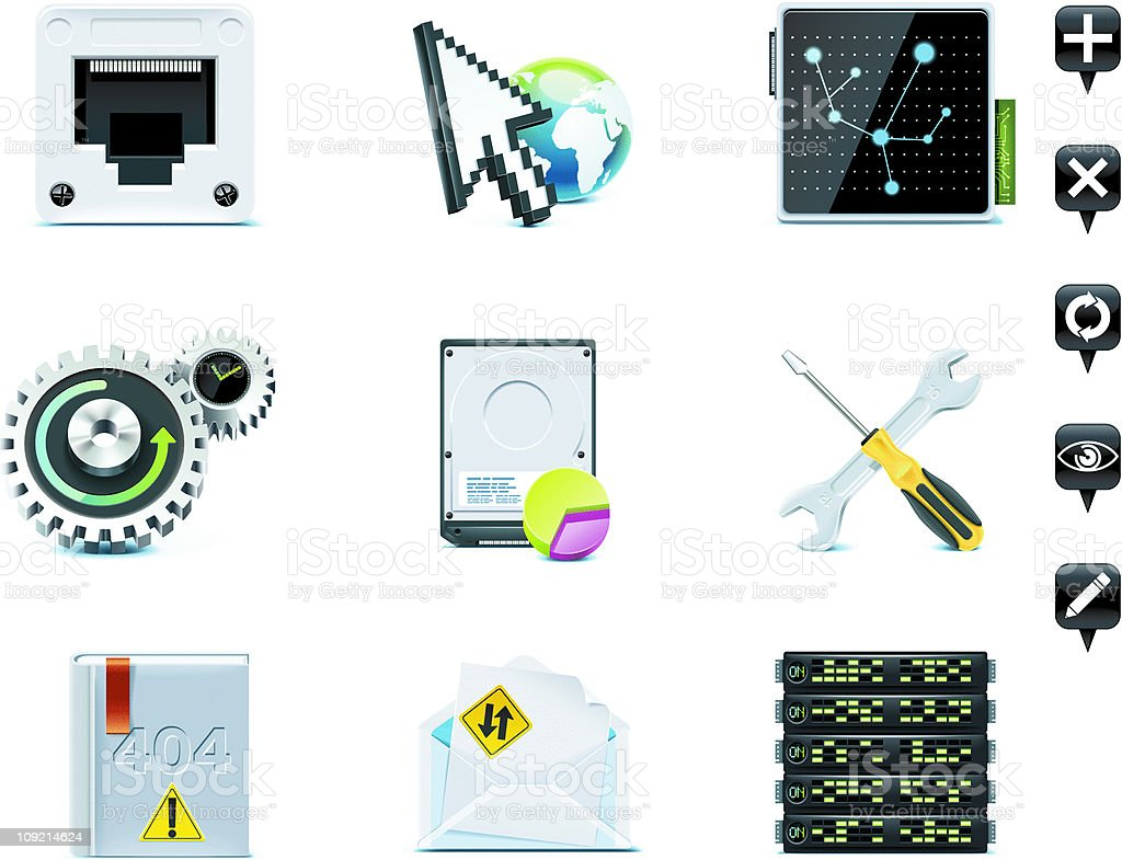 Server administration icons vector art illustration