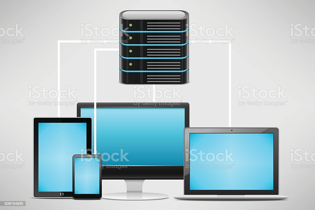 Server and network terminal vector art illustration