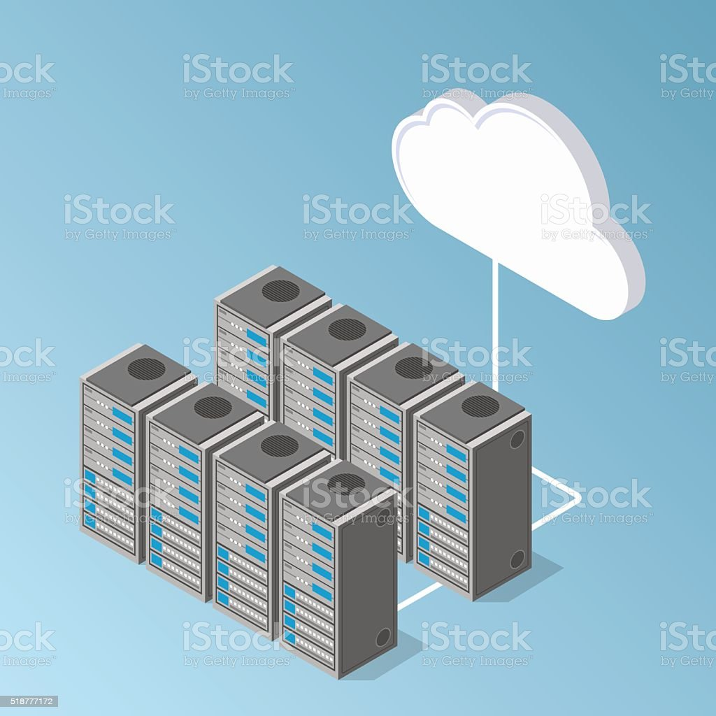 server equipment hardware perspective view. exchange of data with cloud. vector art illustration
