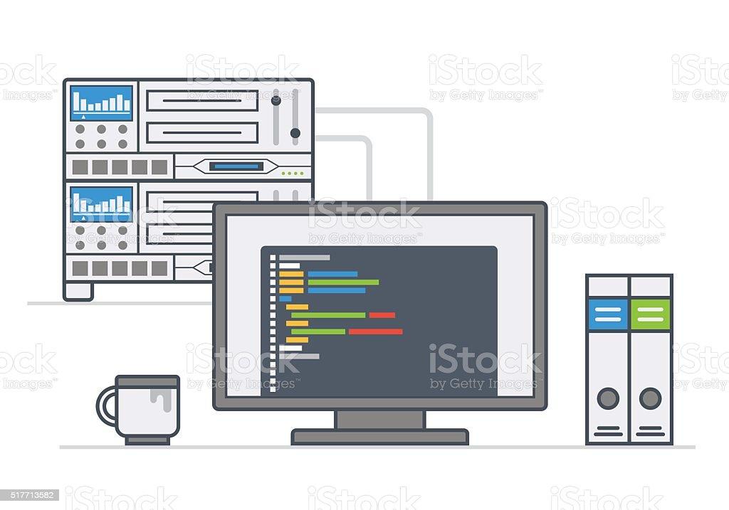 server equipment. workplace system administrator, programmer. illustration line style. vector art illustration