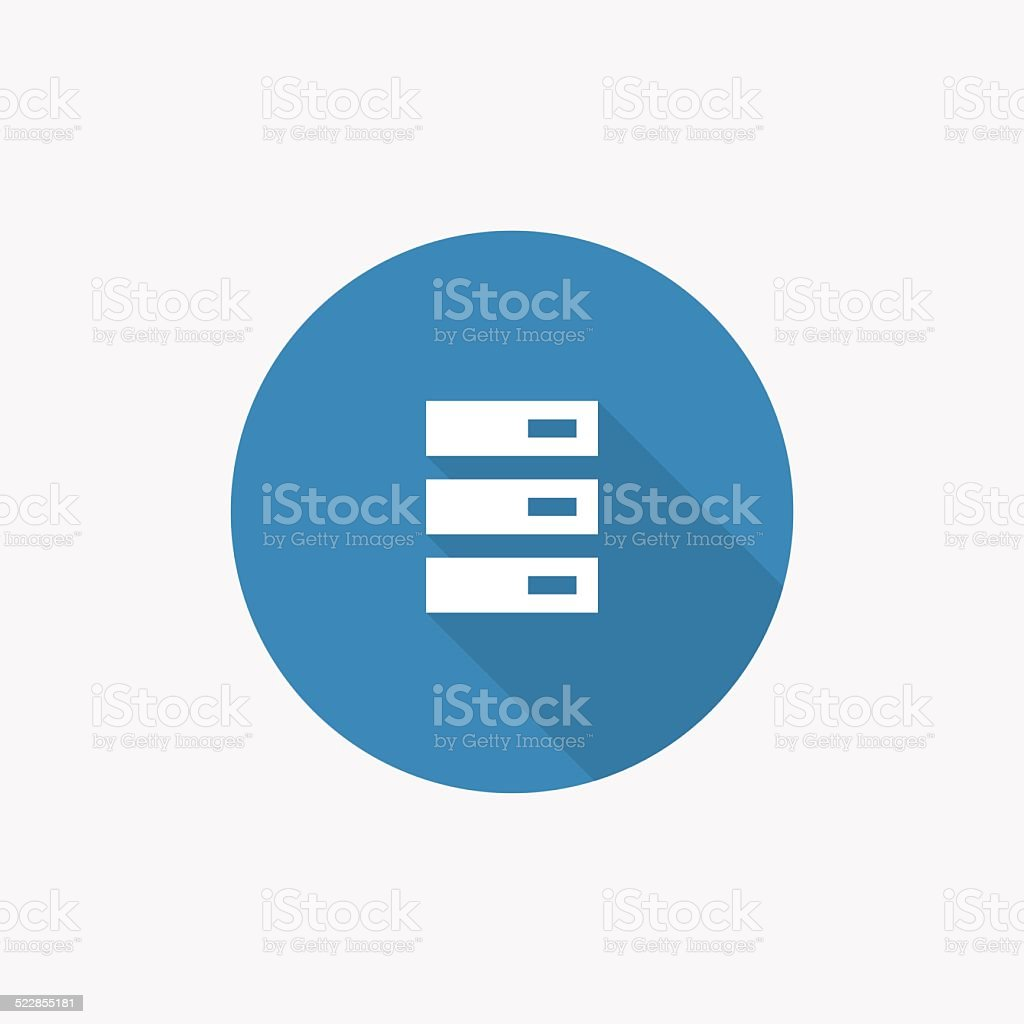 server Flat Blue Simple Icon with long shadow vector art illustration
