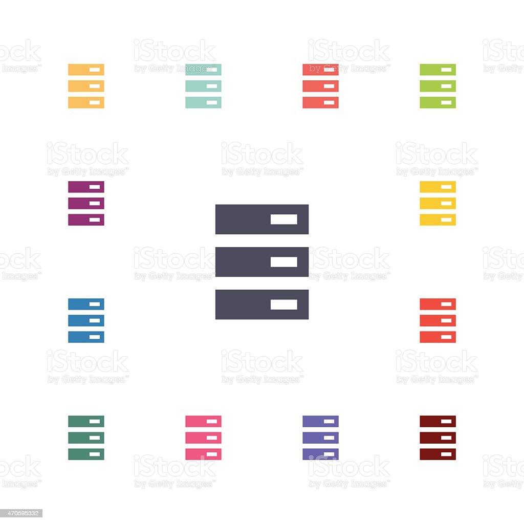 server flat icons set vector art illustration
