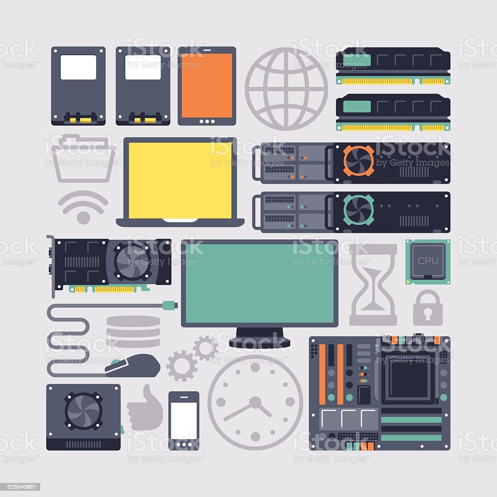 Server Hardware and Computing Modern Flat Equipment vector art illustration
