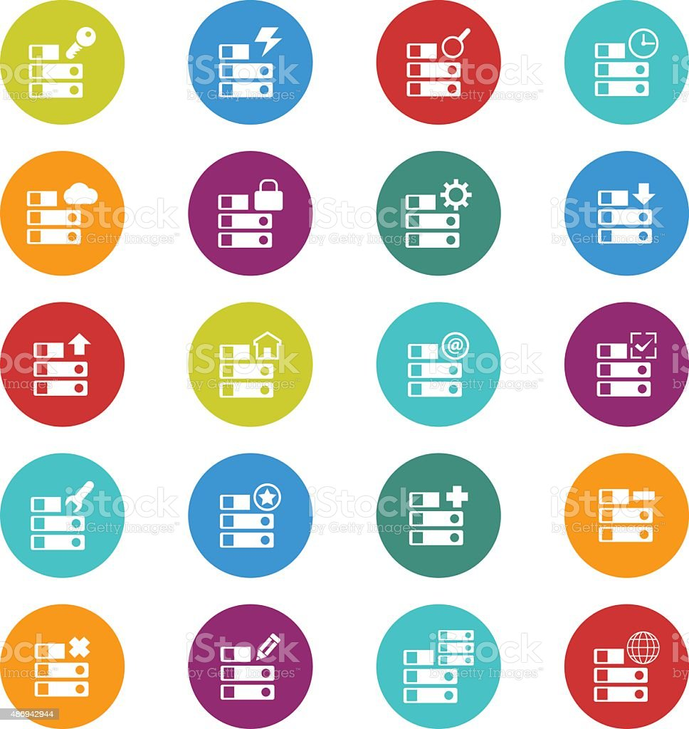 Server icon set vector art illustration