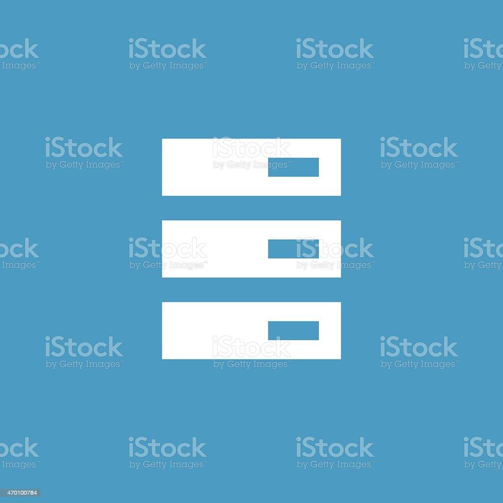 server icon, white on the blue background vector art illustration