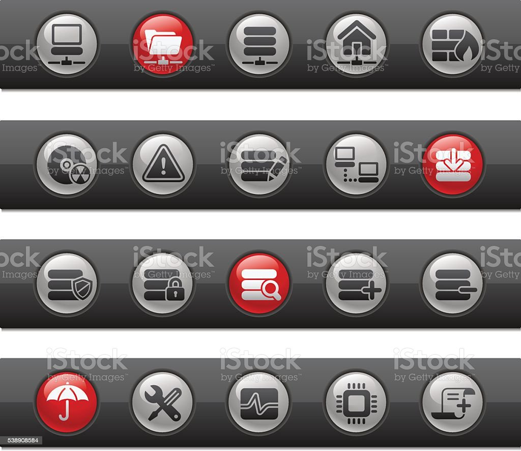 Server Icons // Button Bar Series vector art illustration