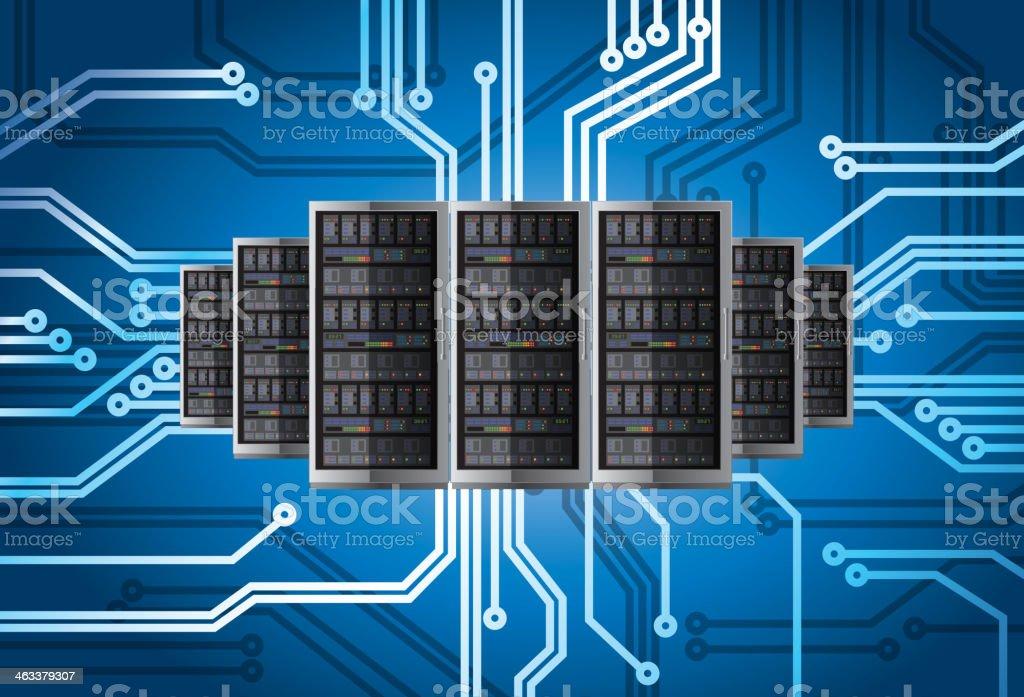 Server in circuit background vector art illustration