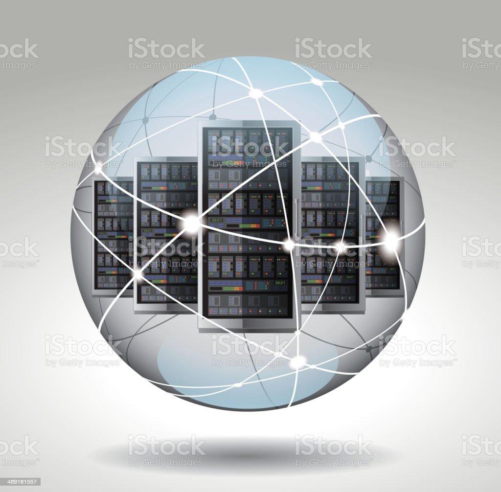 Server in network sphere vector art illustration