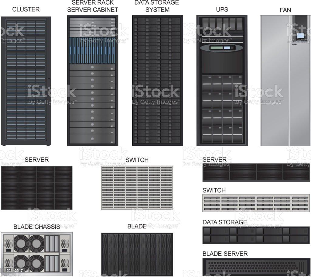 Server room equipment. Vector icons set. vector art illustration