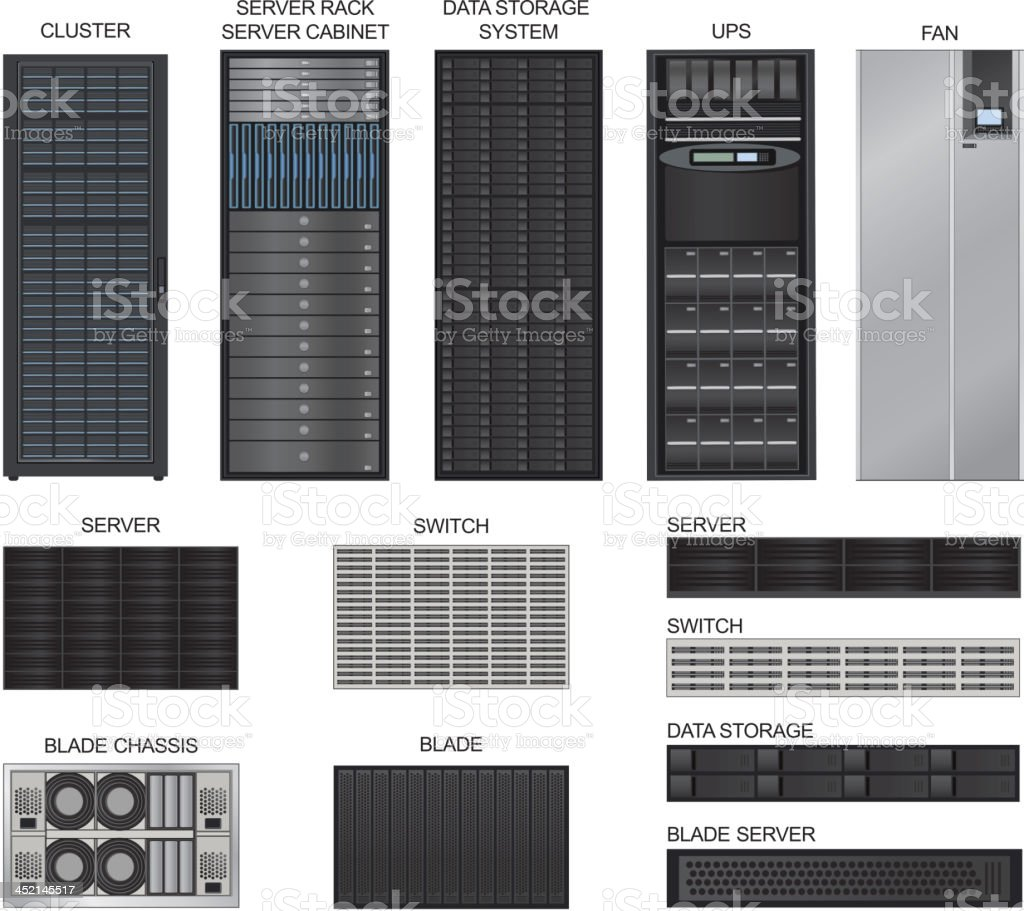 Server room equipment. Vector icons set. vector art illustration