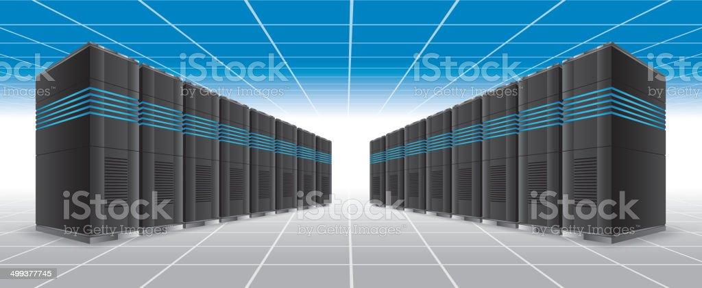 Server room vector art illustration