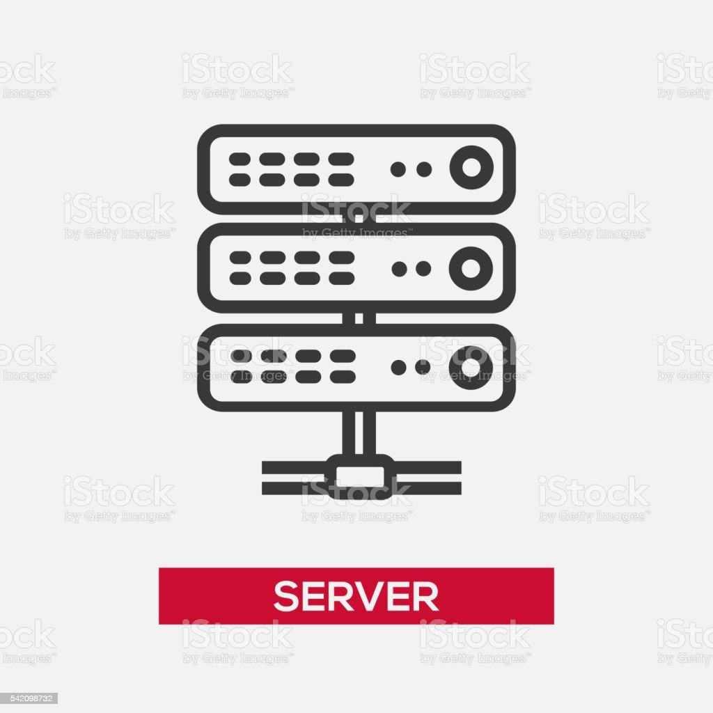 Server single icon vector art illustration