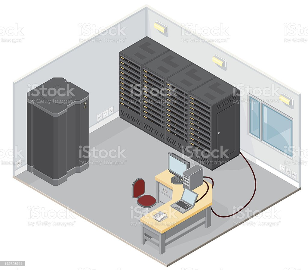 Servers in Office royalty-free stock vector art