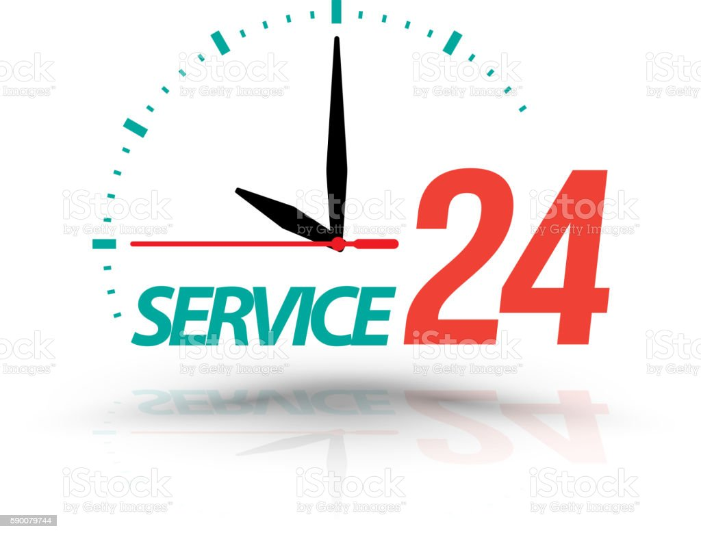 Service 24 with Clock. vector art illustration