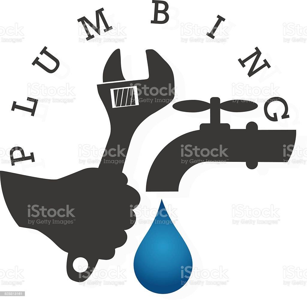 Service and repair plumbing vector art illustration