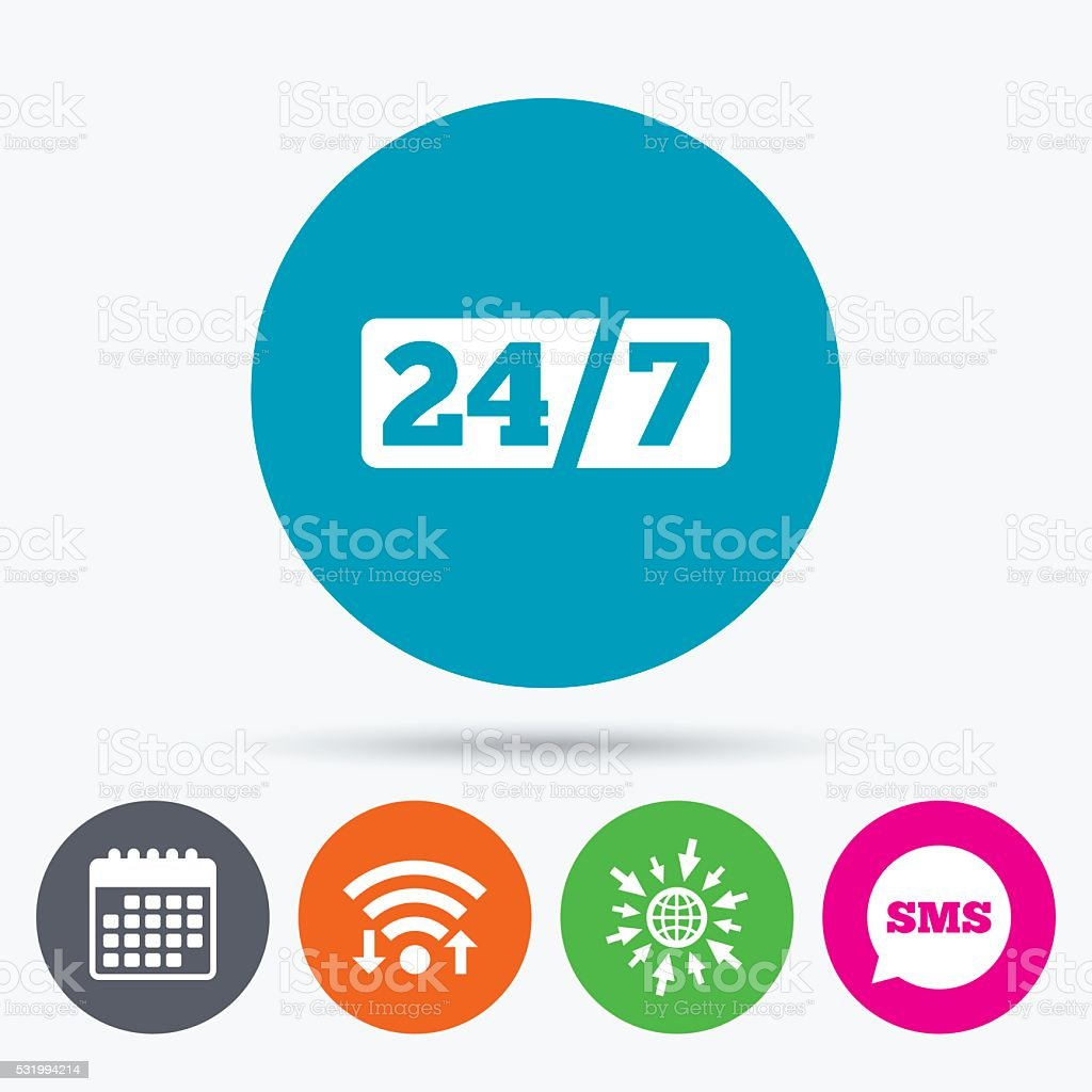 Service and support for customers. 24 hours. vector art illustration