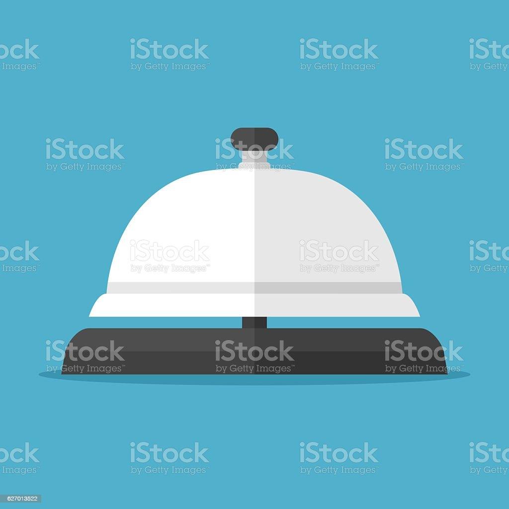 Service bell on blue vector art illustration
