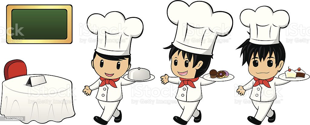 Service Chef with Bakery royalty-free stock vector art