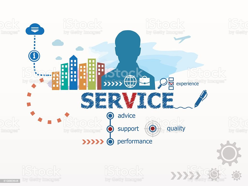 Service concept and business man. vector art illustration