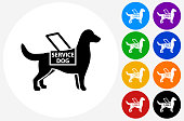 Service Dog Icon on Flat Color Circle Buttons