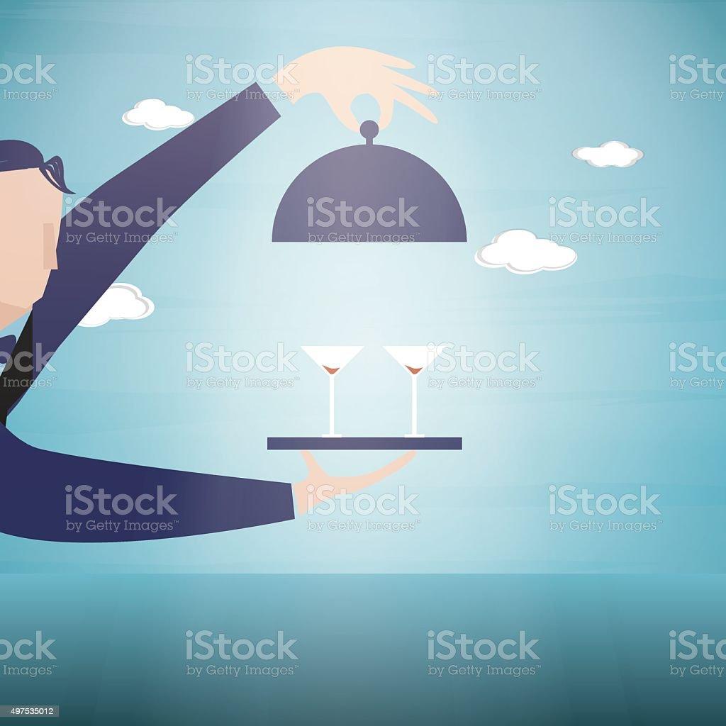 Service hand vector art illustration