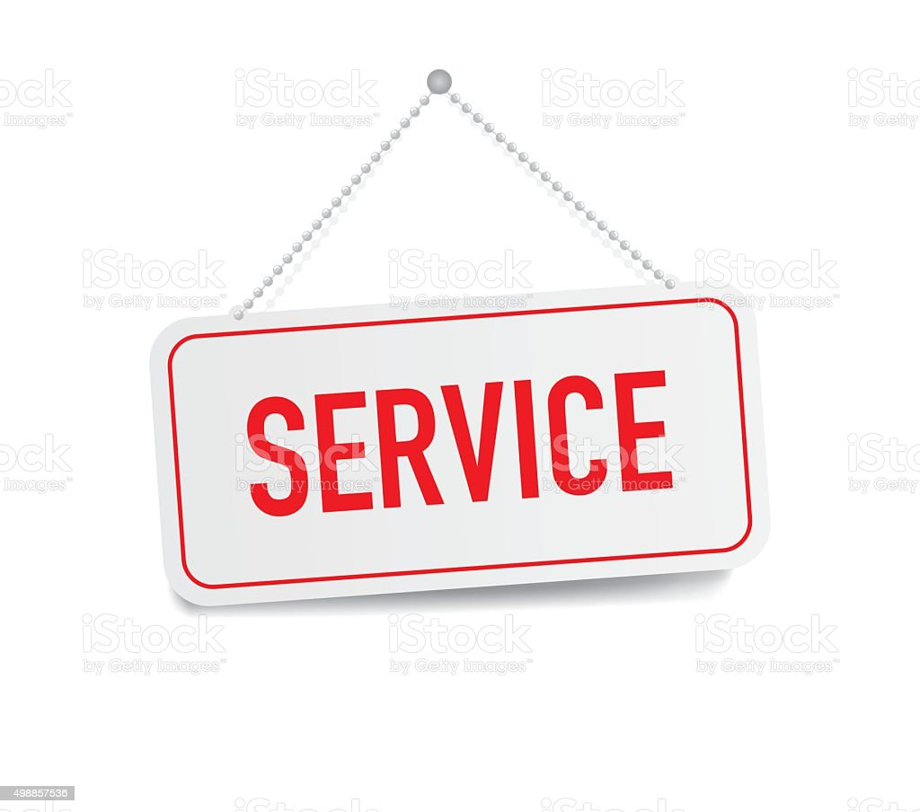 Service hanging sign isolated on white wall vector art illustration