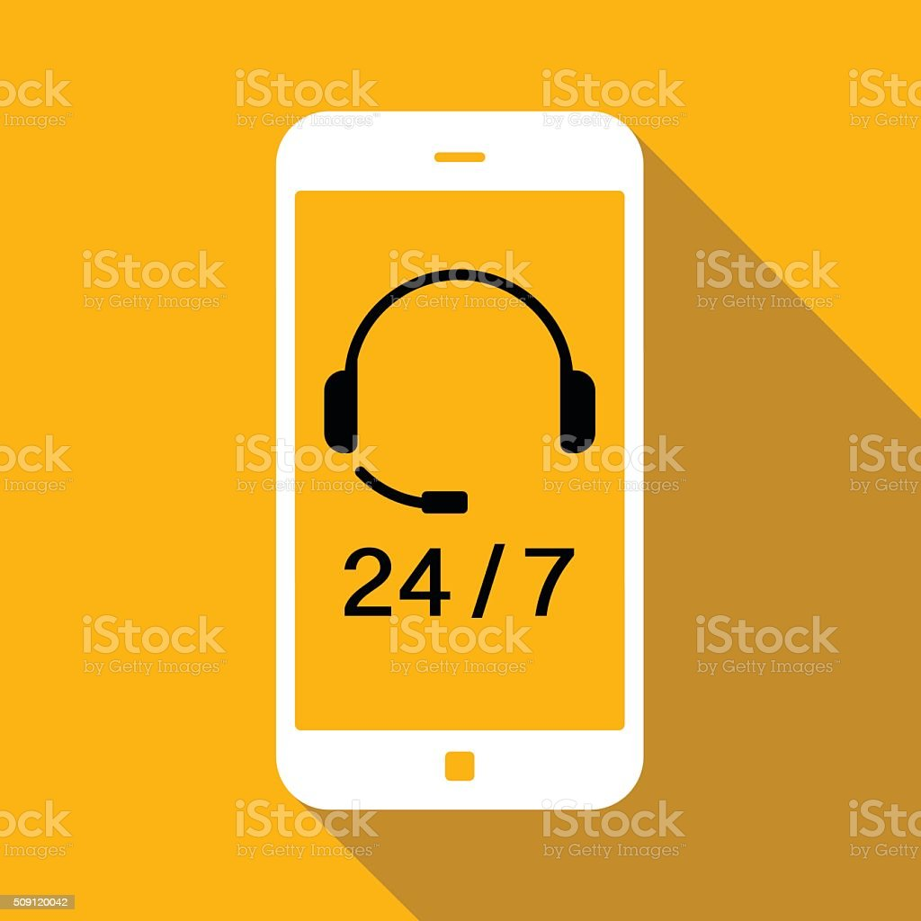 24/7 service icon vector art illustration