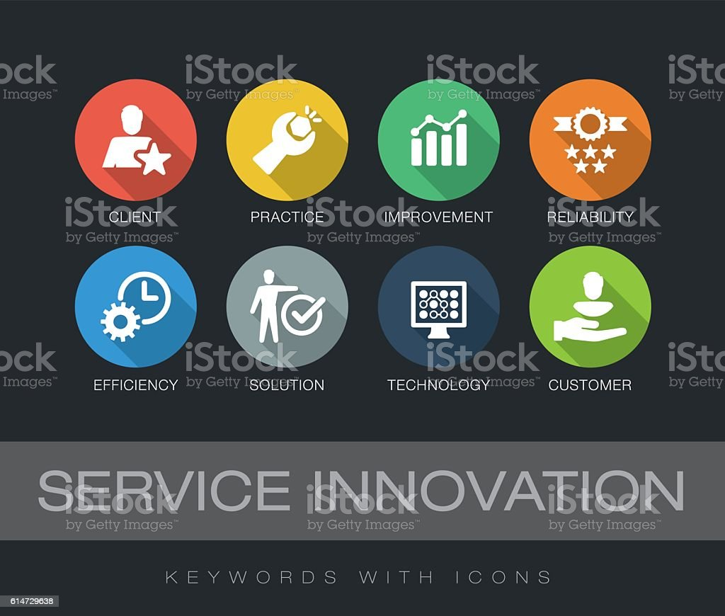 Service Innovation keywords with icons vector art illustration